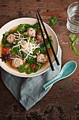 Vietnamese chicken meatball and noodle soup