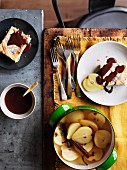 Ricotta cake with poached pears and chocolate sauce