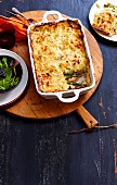 Salmon, leek and green asparagus lasagne