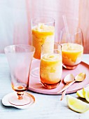 Three glasses of melon and citrus sorbet with gin