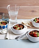 Beef and black bean chilli with avocado salsa
