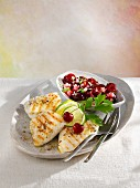 Grilled tilapia fillet with cherries