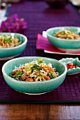 Salad with deep-fried noodles, prawns, chilli and coriander (Thailand)