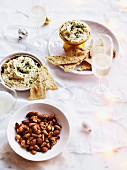 Leek and mascarpone dip with pepper wafers and Spiced nuts