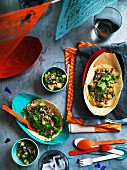 Taco shells with quail and grilled pineapple salsa