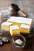 Vanilla slices with icing sugar
