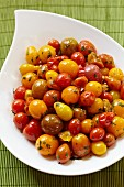 Marinated Cherry Tomato Salad in a White Serving Bowl