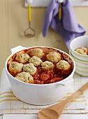 Bean stew with Wiener sausages and dumplings