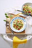 Fettuccini with goat's cheese pesto and tomatoes