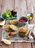 Lamb burgers with courgette and tomato relish