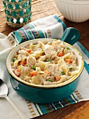 Tuna noodle casserole with peas and carrots