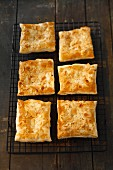Puff pastry slices with sliced almonds