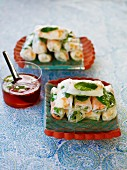 Spring rolls with prawn filling