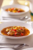 Fish stew with potatoes and peppers