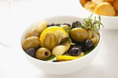 Preserved olives and garlic