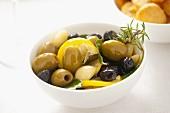 Preserved olives and garlic