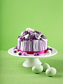 Purple and white layer cake for Easter