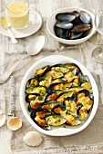 Baked mussels with curry sauce