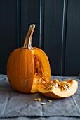 A pumpkin, cut open