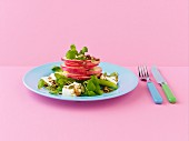 Pink lady apple, feta, walnut and watercress salad, with balsamic dressing