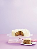 Carrot cake with coconut buttercream and apple purée