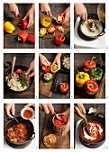 Making peppers stuffed with minced meat and rice, with tomato sauce