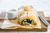 Filo pastry with spinach and feta filling