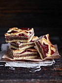 Linzer Schnitten (nutty shortcrust biscuits topped with jam)