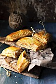 Puff pastry parcels filled with white cabbage