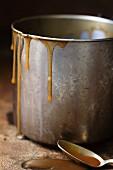 Salted caramel sauce in a pan