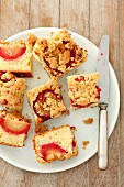 Plum crumble cake, cut into portions