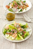 Salad with kohlrabi, ham and walnuts
