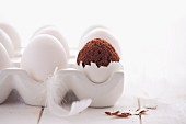 Chocolate cakes in an eggshell