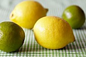Lemons and limes on a green and white checked tablecloth