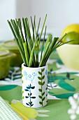 Chive 'straws' in a mug