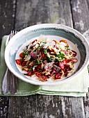 Tomato salad with kritharaki pasta