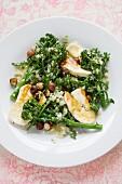 Broccoli salad with halloumi and hazelnuts