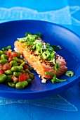 Marinated salmon fillet with grain mustard and bean salad