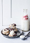 Ice-cream sandwiches and a bottle of milk