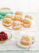 Sponge bites with raspberry cream filling