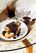 Brioches with chocolate & butterscotch sauce