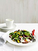Roast beef salad with beetroot, wasabi leaves and buttermilk dressing
