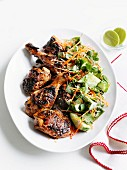Barbecued chicken with a cucumber & carrot salad (Asia)