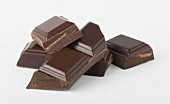 Chunks of Chocolate on White Background