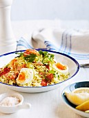 Kedgeree with smoked trout and egg