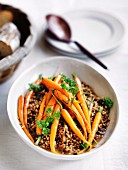 Glazed carrots with rosemary on a barley pilau