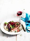 Sirloin steak with fried radicchio