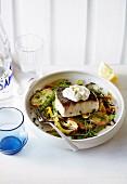 Fish fillet with skordalia, lemon, potatoes and fennel