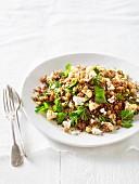 Cauliflower salad with chickpeas and quinoa