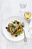 Grilled swordfish steak with courgette and squash